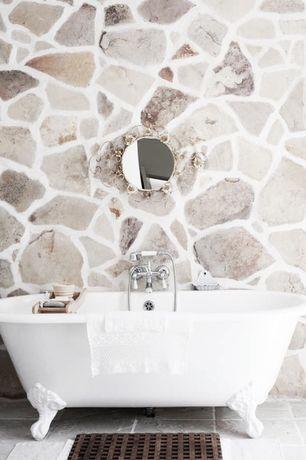 "Contemporary Master Bathroom with Clawfoot, Mariposa Copper 31"" Round Wall Mirror, Master bathroom, Chandelier"