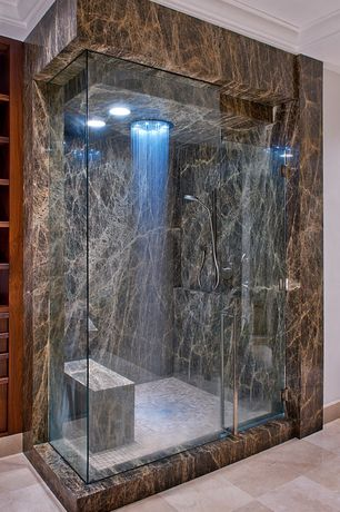 Traditional Master Bathroom with Built in shelves, stone tile floors, Shower, frameless showerdoor, Rain shower, Mosaic tile