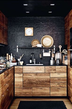 Rustic Kitchen with Merola tile - metro square matte black 12 in. x 12 in. x 5 mm porcelain mosaic floor and wall, Paint 1