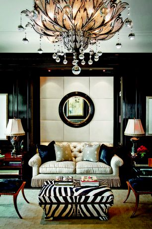 Eclectic Living Room with Jonathan Charles Santos Art Deco Side Chair, Chandelier, Paint 1, can lights, Paint 3, Carpet