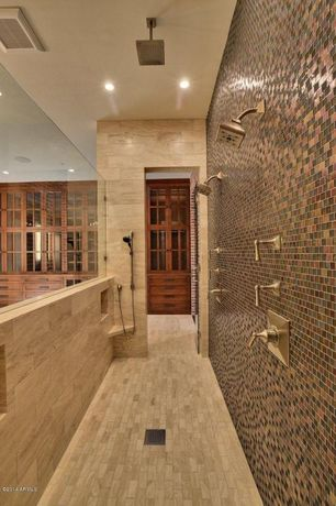 Contemporary Master Bathroom with Daltile Coastal Keystones, Daltile Cortona, Built-in bookshelf, sandstone tile floors