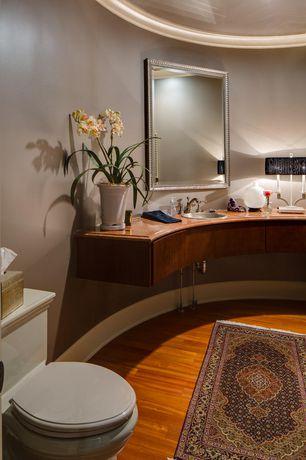 Traditional Master Bathroom with Oriental Weavers Ariana Red/Blue Area Rug, Wood counters, Master bathroom, Hardwood floors