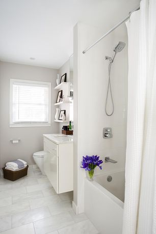 Contemporary Full Bathroom with World market waffle weave shower curtains, Paint 1, Paint, Ikea lack wall shelf, Casement