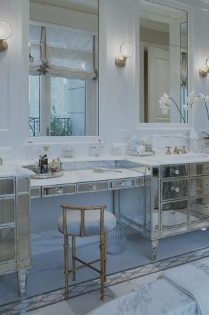 Art Deco Master Bathroom with Undermount sink, Flush, Complex marble counters, Smith & noble relaxed roman fabric shades