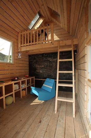 Contemporary Playroom with High ceiling, Chalkboard paint, flush light, Skylight, Hardwood floors, Cabin, Loft