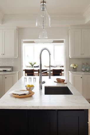 Contemporary Kitchen with Flat panel cabinets, Subway Tile, Crown molding, flush light, Kitchen island, Undermount sink