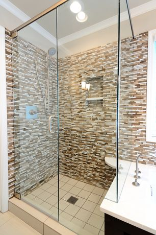 Modern Master Bathroom with Daltile - matte biscuit 6 in. x 6 in. ceramic wall tile, Corian- Designer White, specialty door