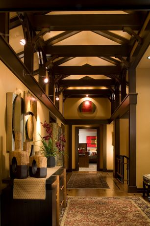 Asian Hallway with flush light, bedroom reading light, Exposed beam, Columns, High ceiling, Paint, can lights