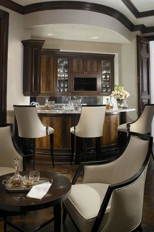 Traditional Bar with Hardwood floors, Standard height, Built-in bookshelf, Crown molding, Paint, can lights