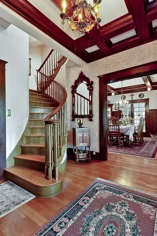 Traditional Staircase with Box ceiling, Chandelier, High ceiling, Hardwood floors