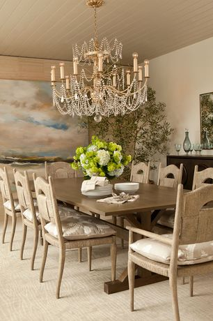 Traditional Dining Room with Standard height, Chandelier, Carpet