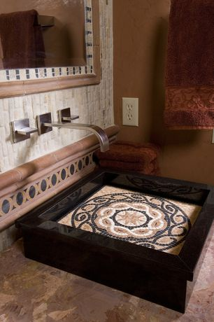 Eclectic Powder Room with Tile mirror, Tile wall, Vessel sink mosaic tile, Tile backsplast, Wall-mounted faucet
