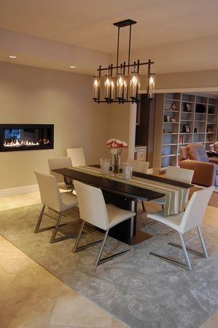 Modern Dining Room with Chandelier, sandstone tile floors, High ceiling