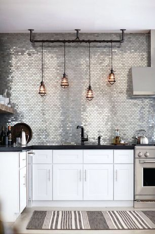 Contemporary Kitchen with Shaker style cabinets, Bar pull hardware, Restoration hardware marconi caged pendant, Metal Tile