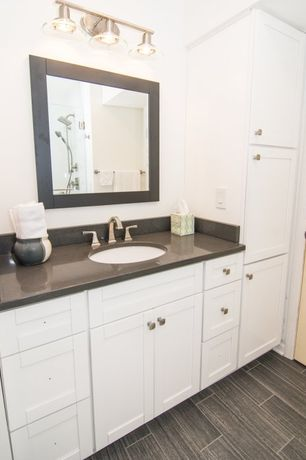 Traditional Master Bathroom with Pental - Arabian Black Satin Granite Slab, Flush, frameless showerdoor, Undermount sink