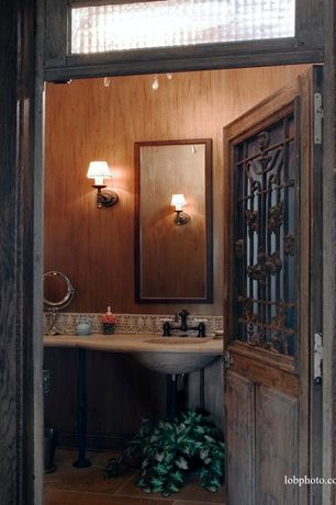 Mediterranean Powder Room with Rustic Wood Ranch Wall Sconce 1 Light, Printfinders Wall Mirror