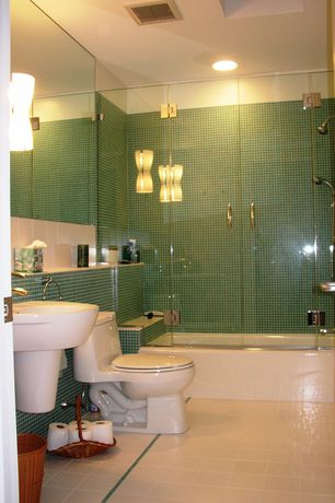 Modern Full Bathroom with Wall Tiles, wall-mounted above mirror bathroom light, shower bath combo, can lights, Full Bath