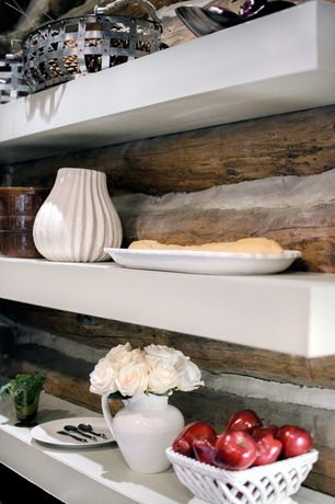 Rustic Kitchen with Floating shelves, Chicago Floating Shelf Collection, Exposed log wall