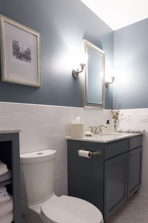 Contemporary Full Bathroom with Simple marble counters, Kohler k-3654-0 white persuade two piece elongated toilet