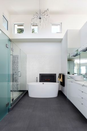 "Modern Master Bathroom with Hansgrohe 42305 Axor Massaud Vessel Bathroom Sink 22-1/2""L, Master bathroom, Flush, Vessel sink"