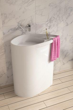 Contemporary Master Bathroom with MS International Calacatta Vagli Marble Tile, Powder room, Pedestal sink, Dw-128 oval sink