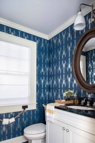 """Cottage Powder Room with Signature Hardware - CASUAL ESSENCE 30"""" D ROUND FRAMED MIRROR, MS International - Blue pearl, Flush"""