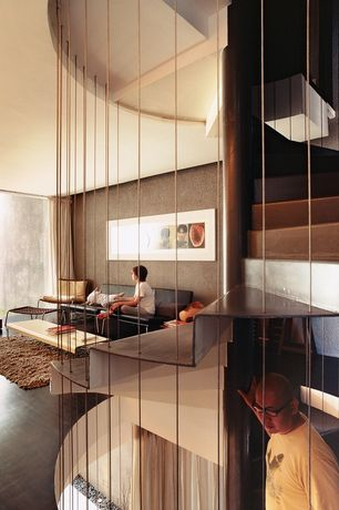 Contemporary Staircase with Spiral staircase, interior wallpaper, Hardwood floors