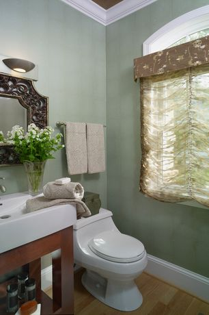 Traditional 3/4 Bathroom with Arched window, three quarter bath, Hardwood floors, Crown molding, Standard height, Paint 1