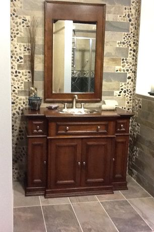 Traditional Full Bathroom with Slate Tile, Flat panel cabinets, Stone Tile, Wood counters, slate tile floors, Inset cabinets