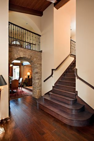 Mediterranean Entryway with Exposed beam, Cathedral ceiling, Birch - Glazed Woodland 3 in. Engineered Hardwood Plank, Loft