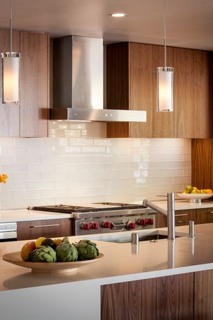 Contemporary Kitchen with Pendant light, One-wall, Subway tile white gloss, Undermount sink, Kitchen island, Corian counters