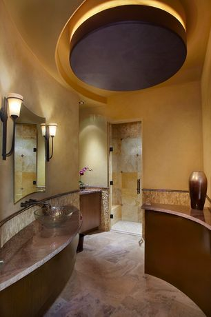 "Modern Master Bathroom with Kingston brass clear 16-1/2"" nordics 12mm round crystal glass vessel sink, Vessel sink"