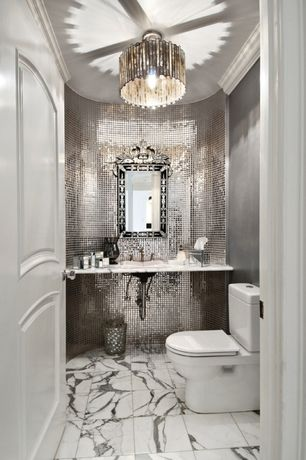 Art Deco Powder Room with Complex marble counters, complex marble tile floors, Powder room, drop-in sink, specialty door