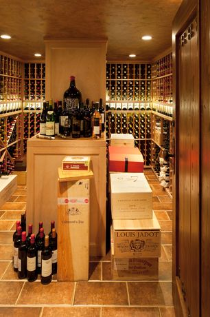 Traditional Wine Cellar with Standard height, travertine floors, Crown molding, can lights, specialty door