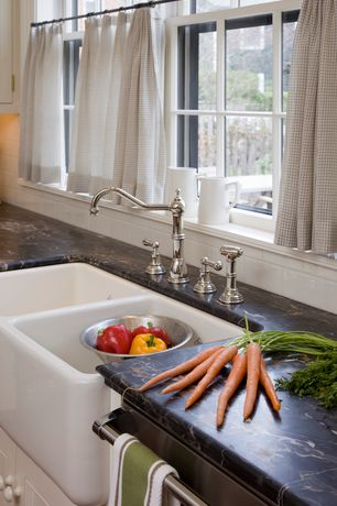 Country Kitchen with Marble counter top, Rohl country kitchen two handled faucet, Subway tile backsplash