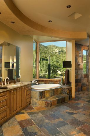 Rustic Master Bathroom with Pental - raja multi slate 12x12, High ceiling, Slate tile wall, Raised panel, Flush, Trey ceiling