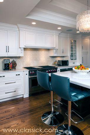 Traditional Kitchen with Glass panel, Breakfast bar, American walnut natural / random width x random length, Specialty Tile