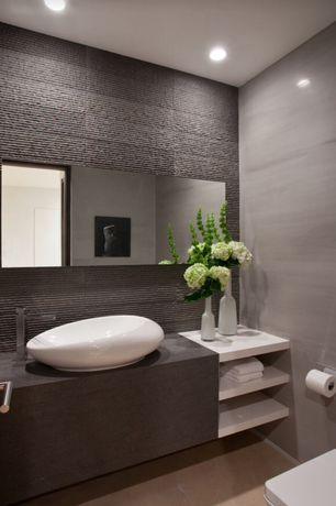 Contemporary Master Bathroom with Master bathroom, can lights, Daltile Elite Tan Field Tile, Vessel sink, Paint 1, flat door