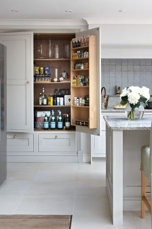 Traditional Pantry with Glass white 4 in. x 4 in wall tile, Stainless steel refrigerater, White kitchen cabinets