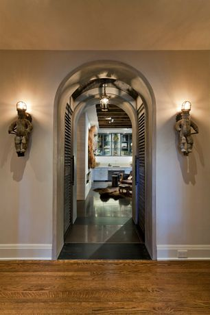 Contemporary Hallway with Wall sconce, Hardwood floors, Pendant light, Standard height, Louvered door