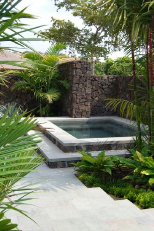 Tropical Hot Tub with Raised beds, exterior tile floors, Fence