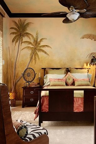 Guest Bedroom with Ceiling fan, Carpet, Standard height, Crown molding, Mural