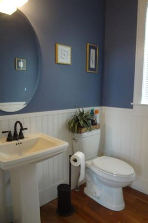 Cottage Powder Room with Pedestal sink, PurBead 4-ft Primed Hardboard Double Bead Wainscot, Wainscotting, Powder room