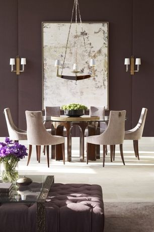 Contemporary Dining Room with Chandelier, limestone tile floors, stone tile floors, Wall sconce, Standard height