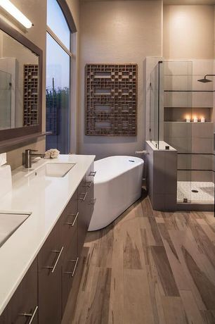 Contemporary Master Bathroom with High ceiling, Bathtub, Master bathroom, Freestanding, frameless showerdoor, Corian counters