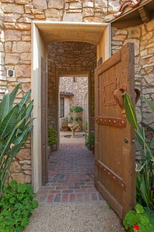 Rustic Front Door with exterior brick floors, Pathway