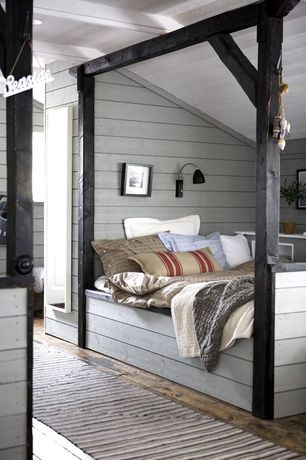 Rustic Guest Bedroom with Paint 2, Shiplap walls, can lights, Exposed beam, Built in bed platform, Columns, Hardwood floors