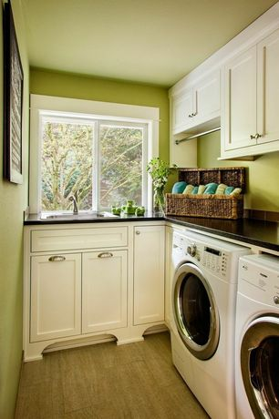 Traditional Laundry Room with Hickory hardware deco 96mm satin-nickel cup pull, Laminate floors, Built-in bookshelf