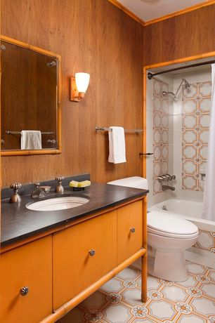 Eclectic Full Bathroom with tiled wall showerbath, Flush, ceramic tile floors, European Cabinets, Slate counters, Wall sconce