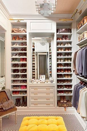 Contemporary Closet with Carpet, Yellow tufter ottoman, Built-in bookshelf, Standard height, Traditional picture light